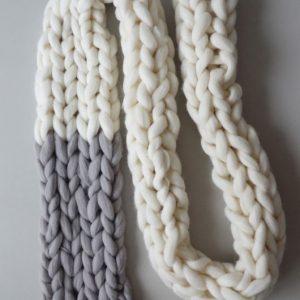 knit scarf white grey panapufa