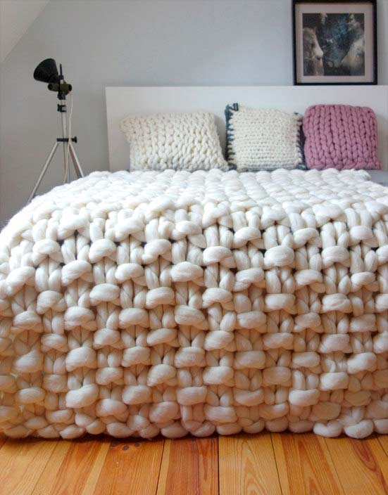 chunky knit bedcover