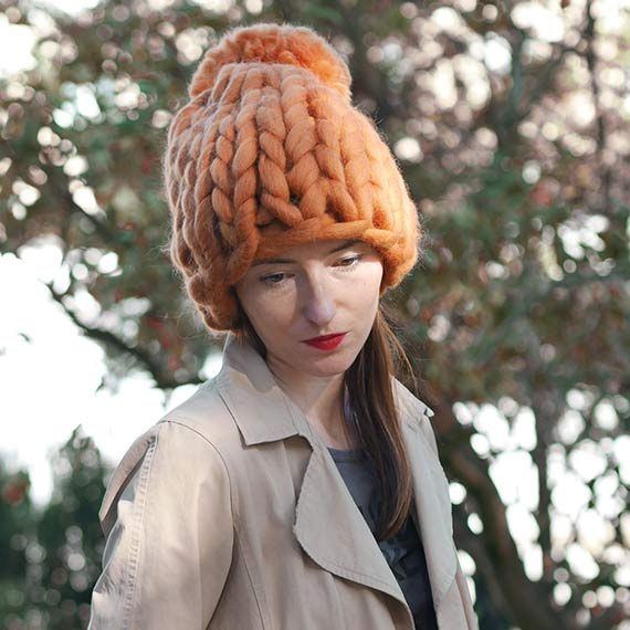 chunky knit beanie panapufa